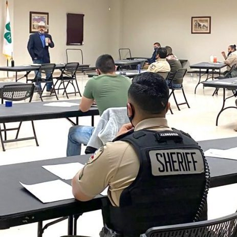 Frio County Sheriff Mike Morse addresses his officers in a training and testing event this month as the agency goes through its transition to a new administration.