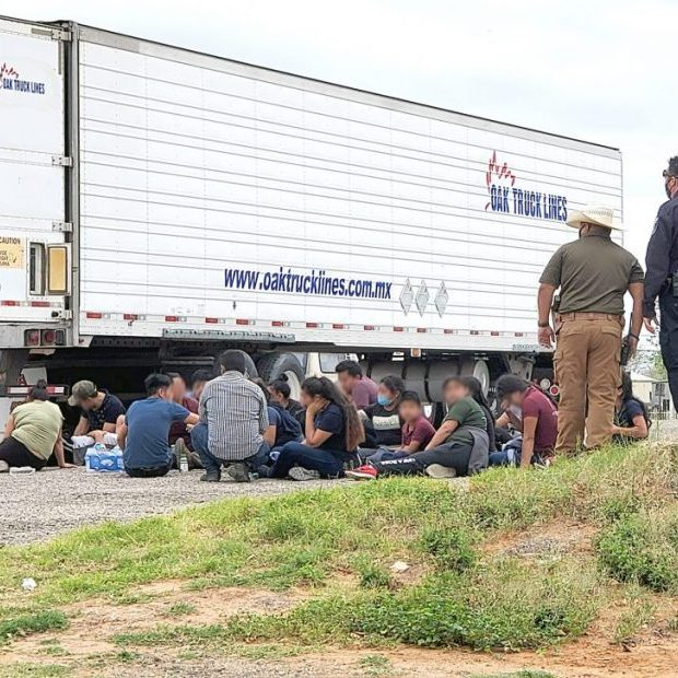 Law enforcement officers from across the region worked Monday afternoon, March 22, to corral up to a hundred undocumented immigrants who had been released from a freight truck trailer in Pearsall.