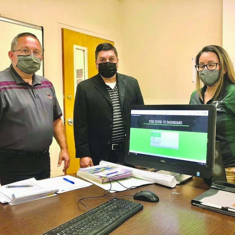 Pearsall ISD Superintendent Dr. Nobert Rodriguez, Technology Director Jesse Hinojosa and Assistant Supt. Sonya Martinez