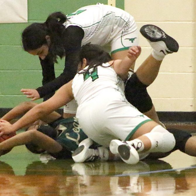 Pearsall's Linda Vasquez (Top) and Karlina Rodriguez (#4) battle with a Titans' player for the ball during the Lady Mavs' non-district contest against Southwest Legacy on Friday, November 20. Pearsall played four games in five days prior to the Thanksgiving break over the weekend. (CURRENT photo: Manuel Azocar III)